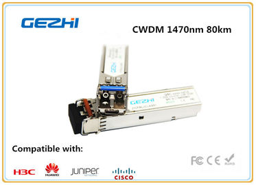 China 1000BASE - CWDM SMF SFP Fiber Module , 1470nm 80km Single Mode Fiber Transceiver Cisco Compatible distributor